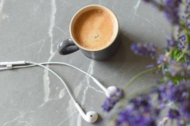 Relaxing at home with music and drink of coffee