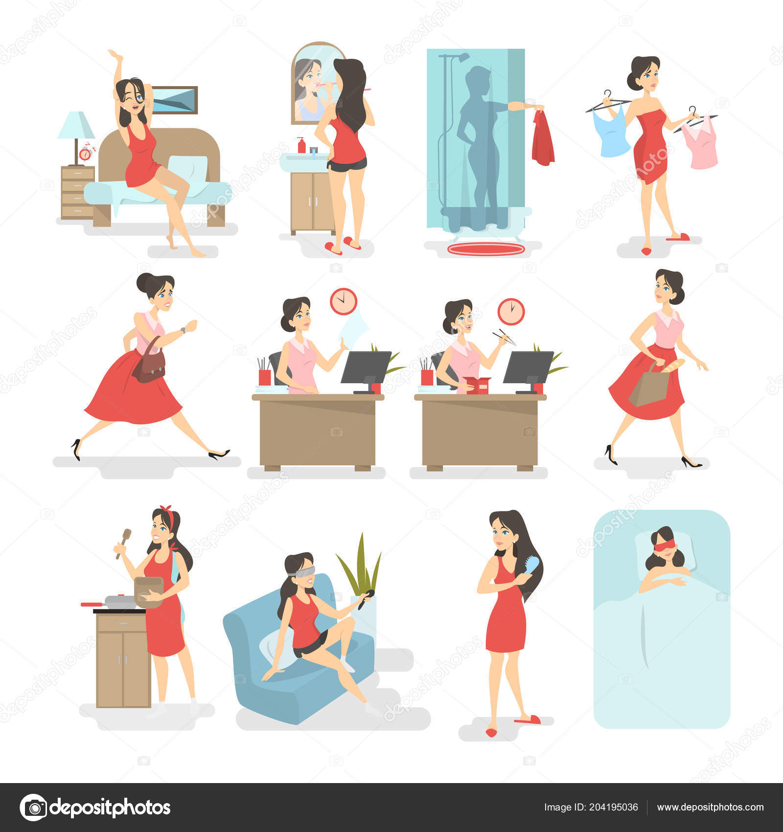 woman daily routine stock vector inspiring vector gmail com