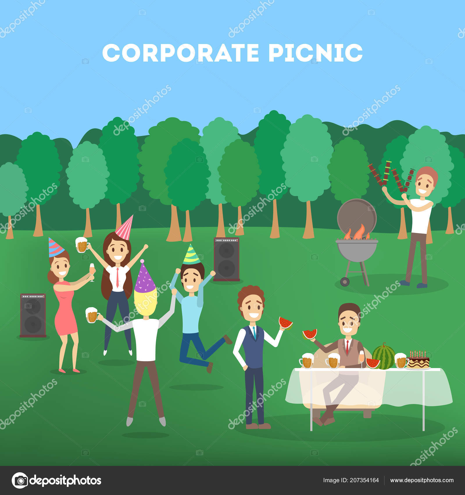 Office Workers At The Corporate Bbq Party Stock Vector Inspiring