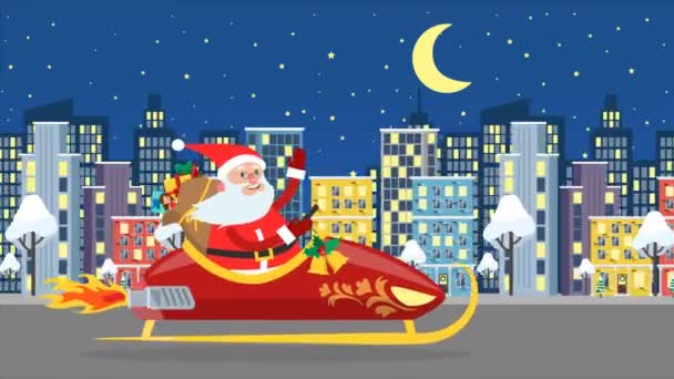 Santa Claus flying over the night city