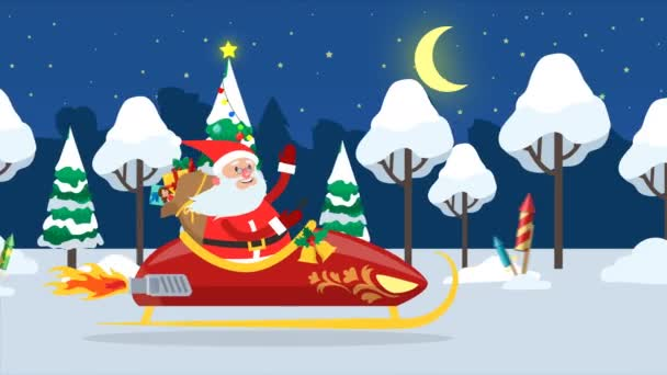 Happy Santa Claus in sledge flying across winter forest with bag full of gifts and waving hand. New Year and Christmas greeting. Cute christmas loop gif animation 4K.
