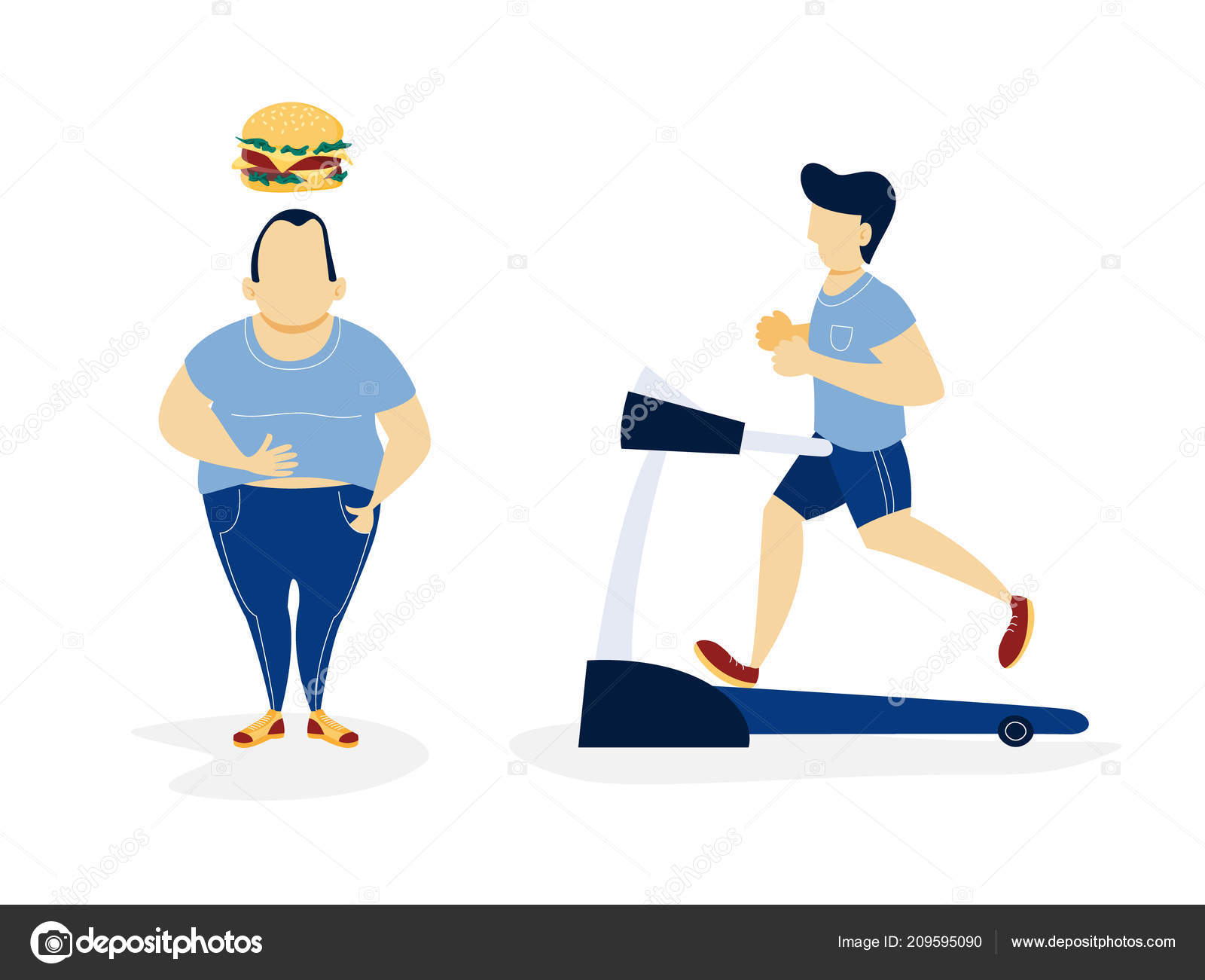 Slim sport man and woman cartoon flat design illustration isolated on white  background Clipart | k54632950 | Fotosearch