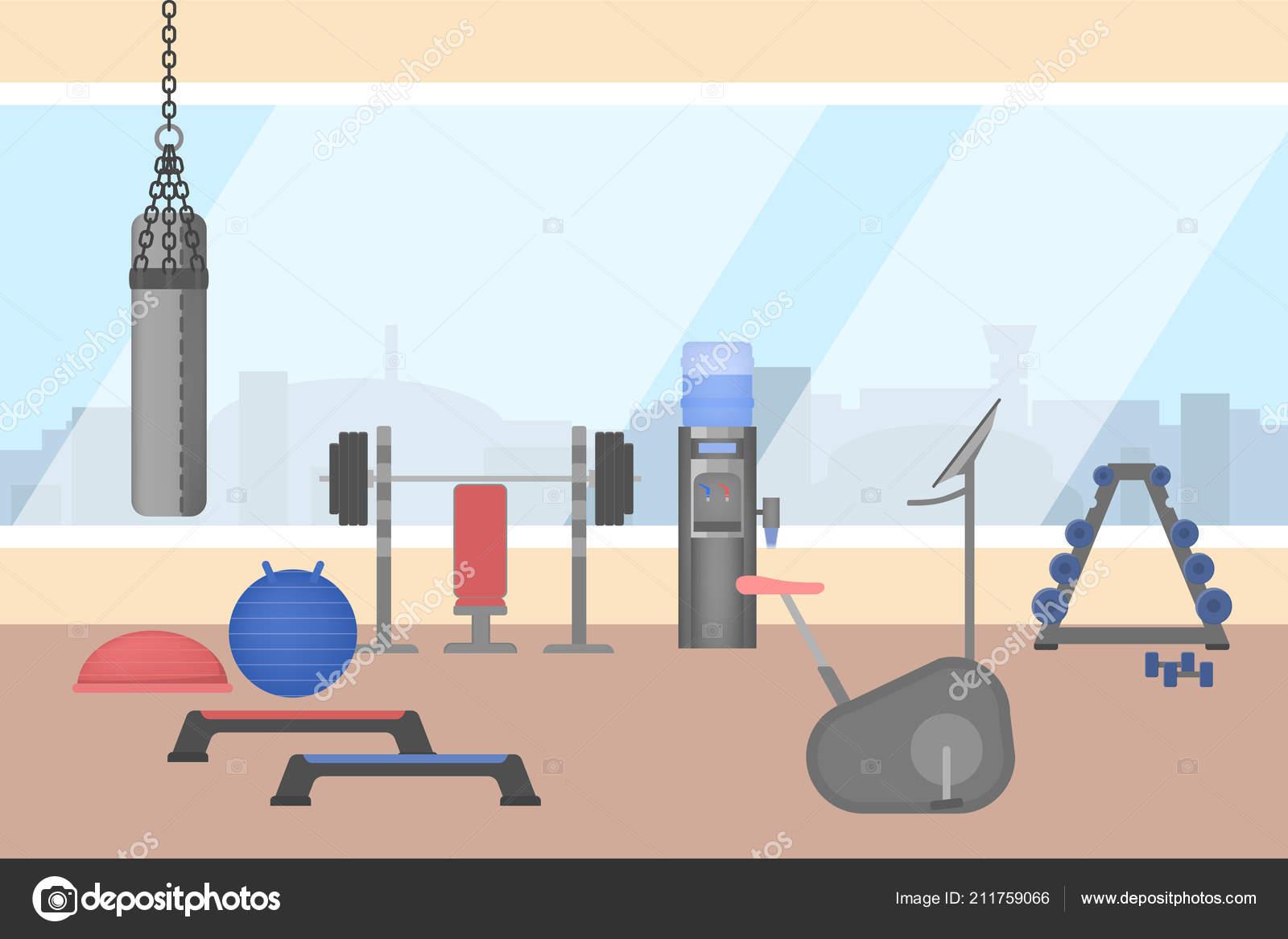 Gym room interior with sport equipment inside u stock vector