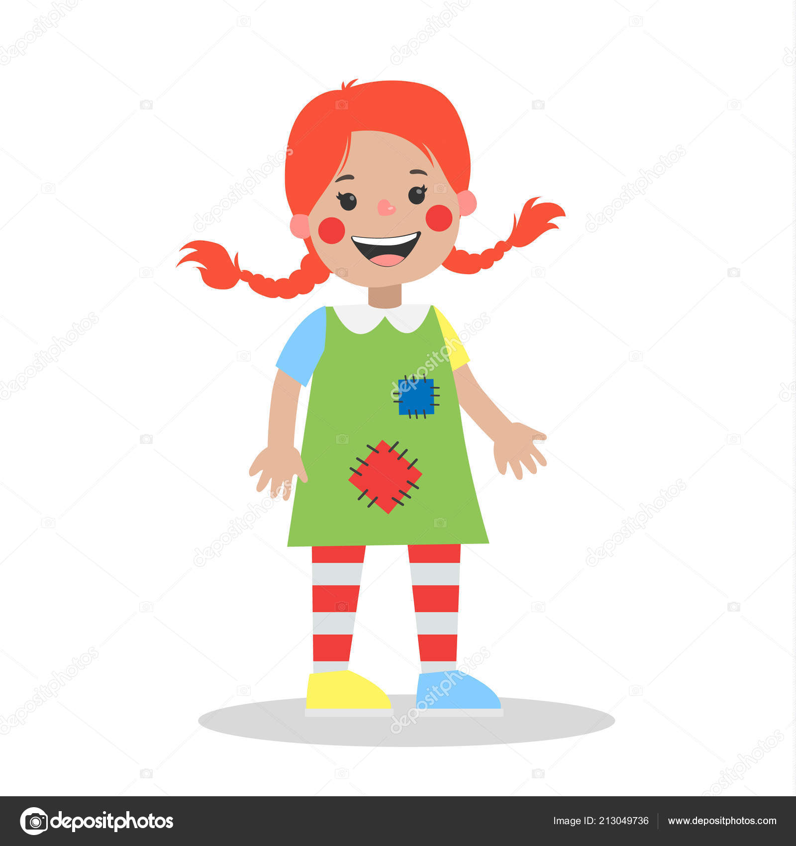 cute ginger girl in bright halloween costume party outfit for children isolated vector flat illustration vector by inspiringvectorgmailcom