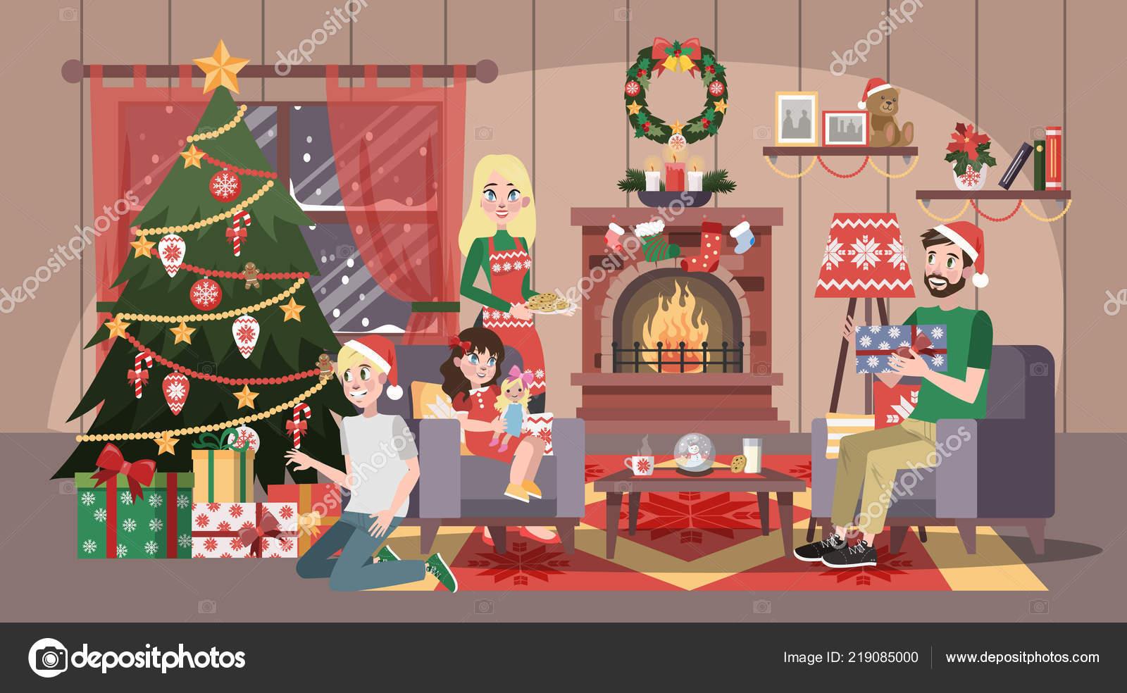 Christmas Celebration Cartoon Images.Happy Family Have Fun On The Christmas Celebration Stock