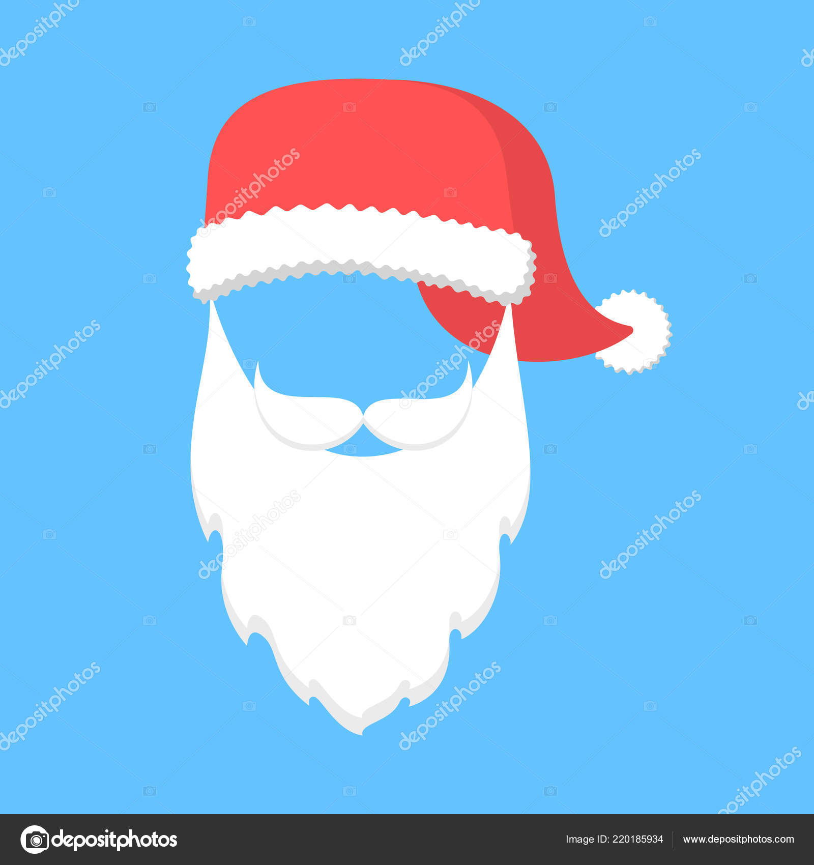 2b1a0a49c34834 Santa Claus mask with hat and beard — Stock Vector © inspiring ...