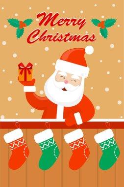 Cute Merry Christmas greeting card. Creative design