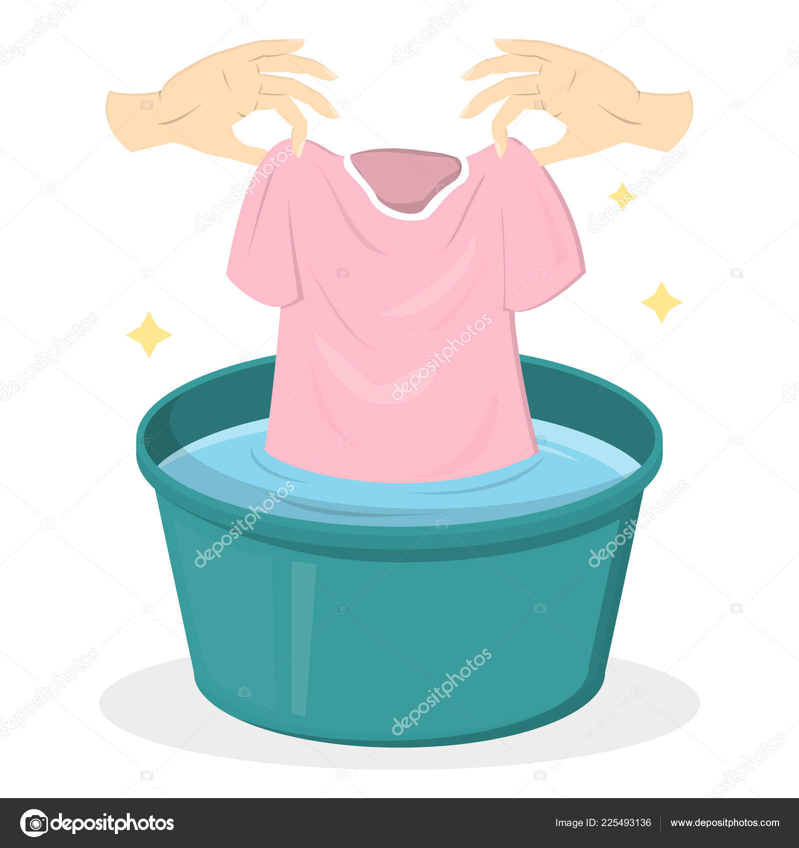 Hand Washing Clothes In A Green Basin Stock Vector C Inspiring