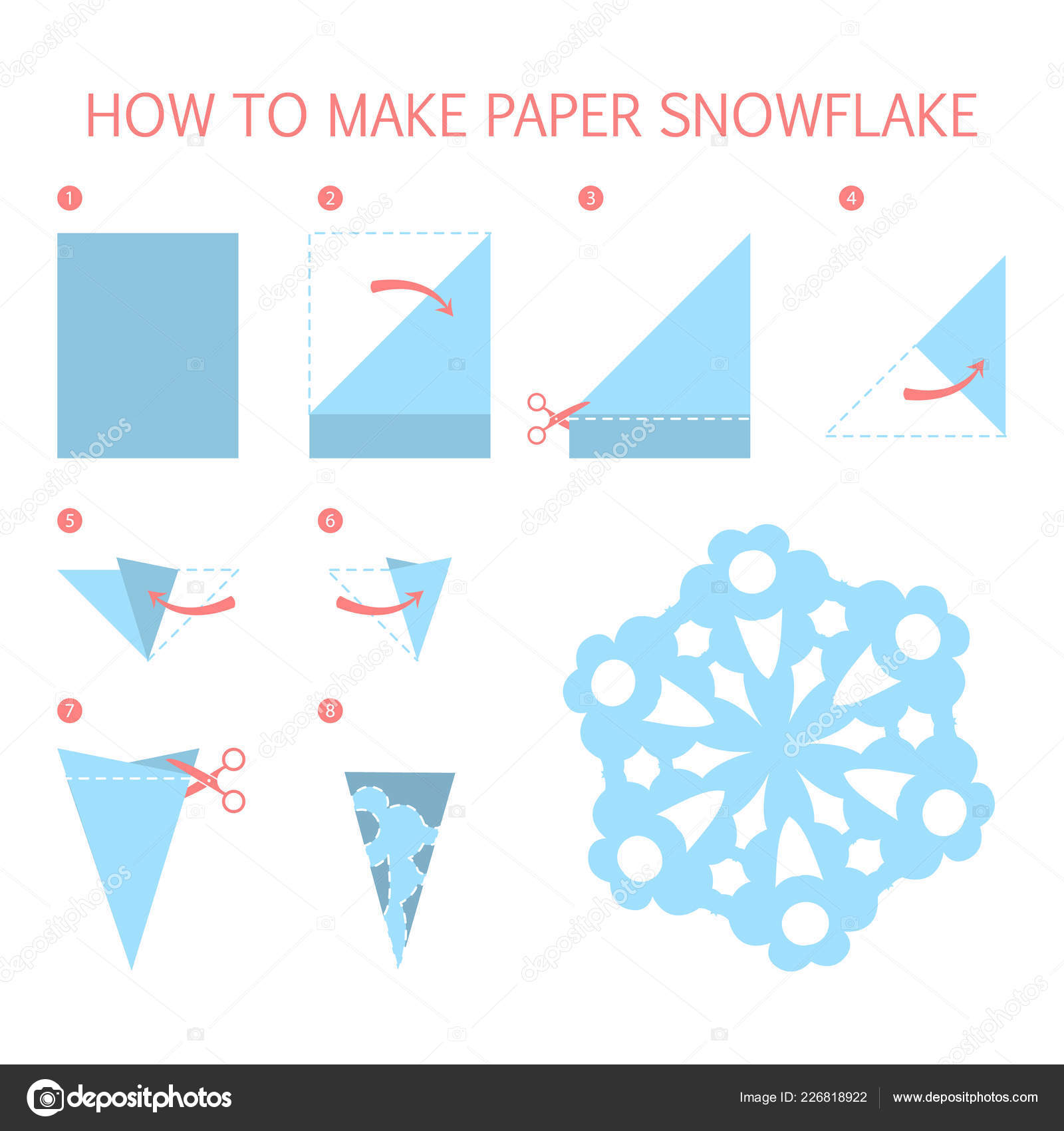 Como Hacer Christmas Con Fotos.How To Make Christmas Blue Snowflake Diy Stock Vector