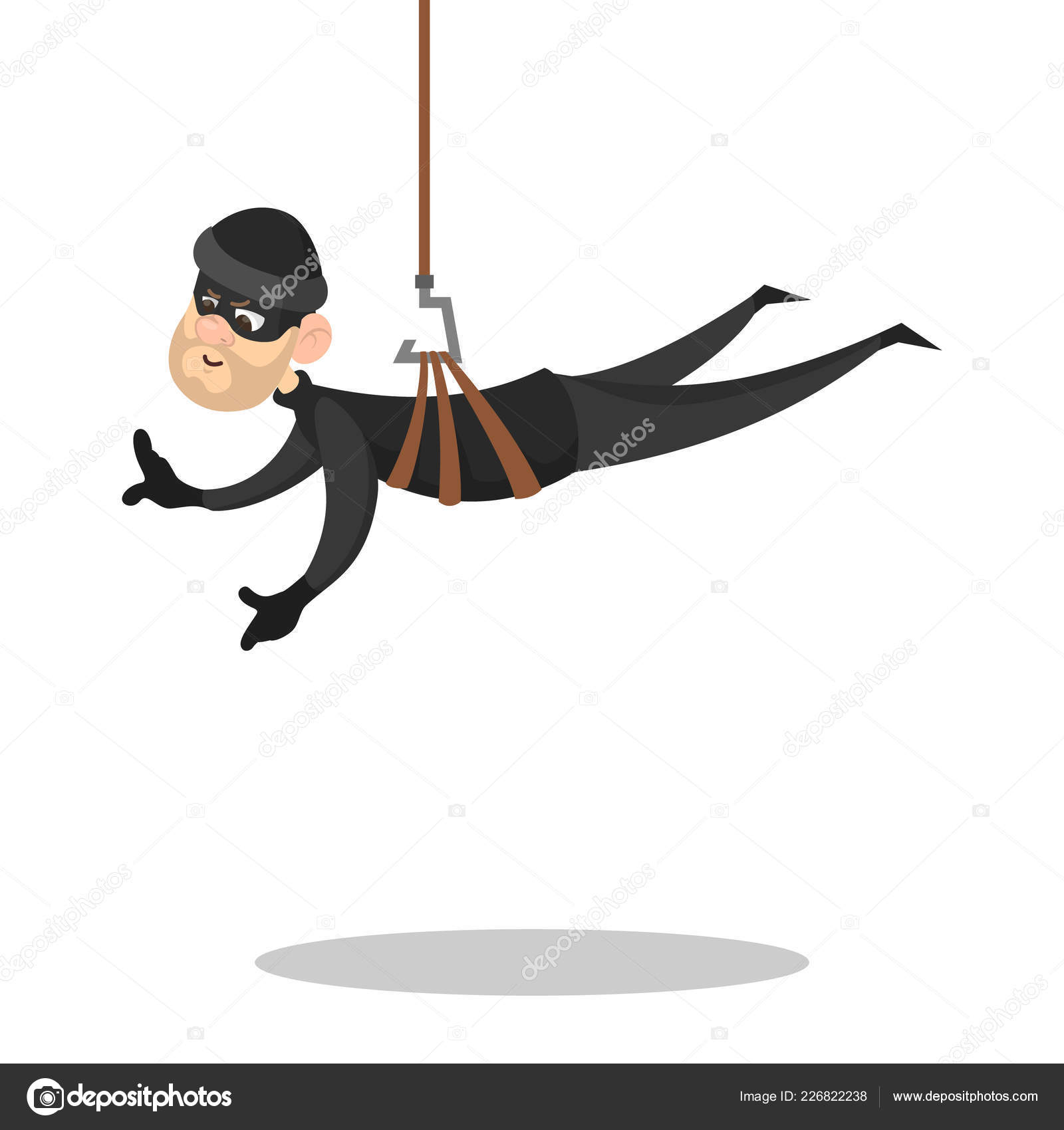 Thief Or Burglar In Black Clothes And Mask Stock Vector