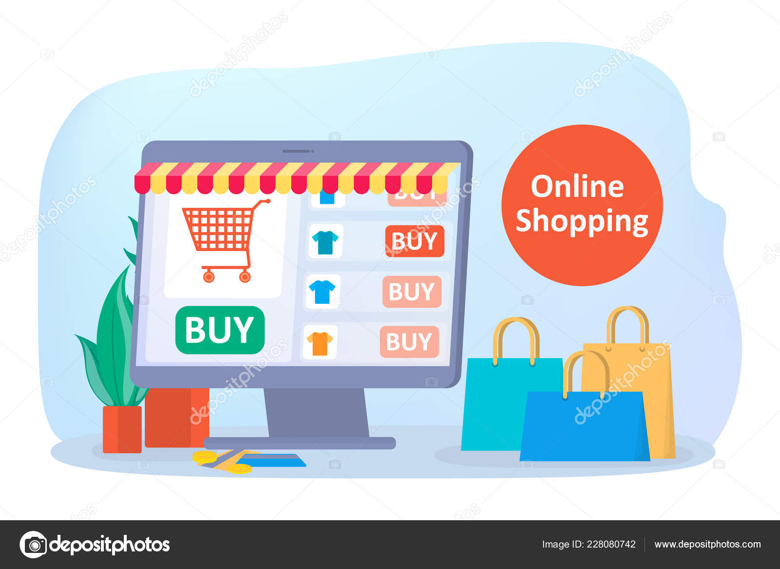 d27d71d5311 Tiendas en línea en el sitio Web. Comprar ropa online — Vector de stock