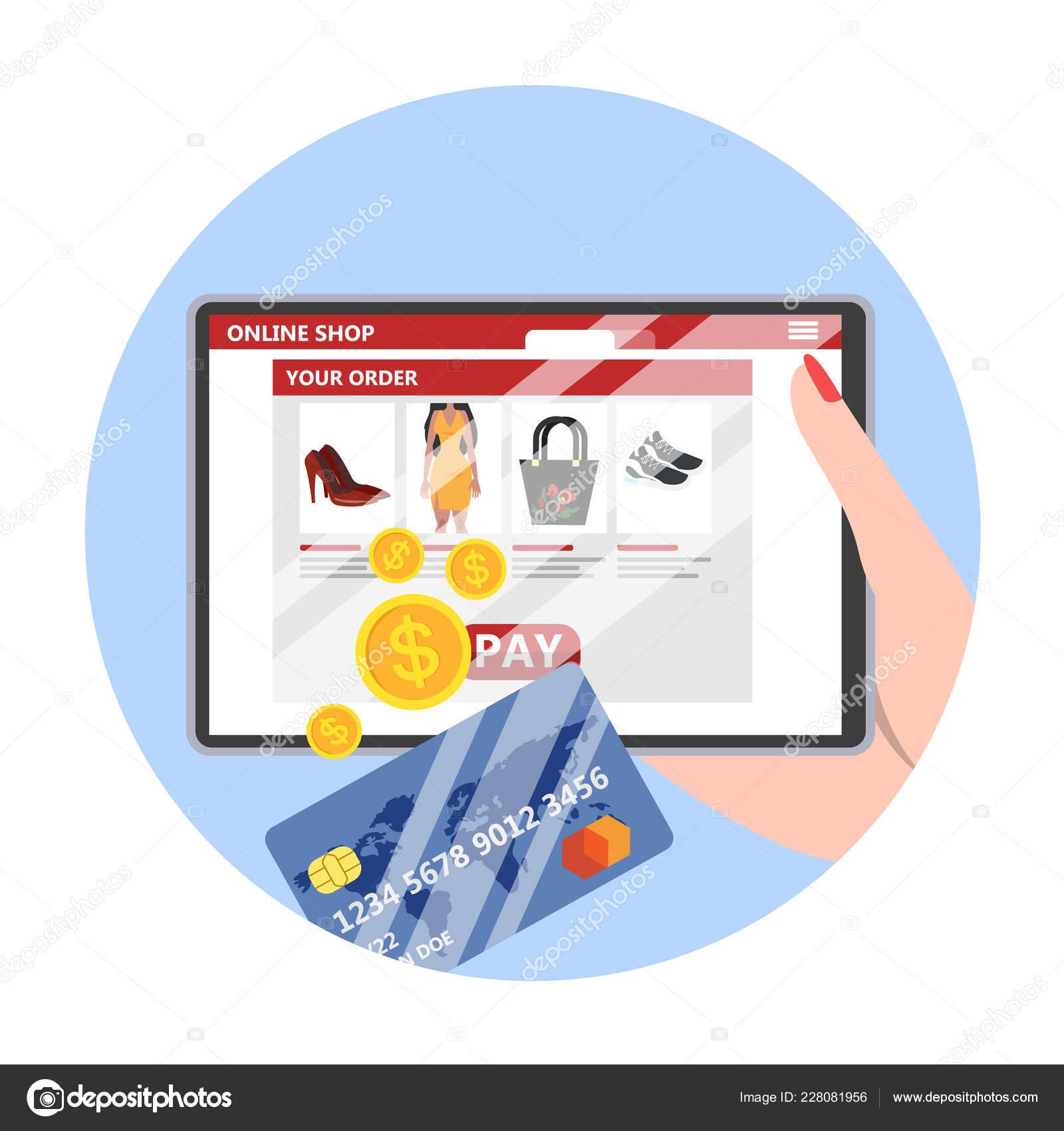 68f24914bc31 Lo shopping online. Comprare vestiti e fare pagamenti online sui siti web  utilizzando dispositivi. Tecnologia moderna