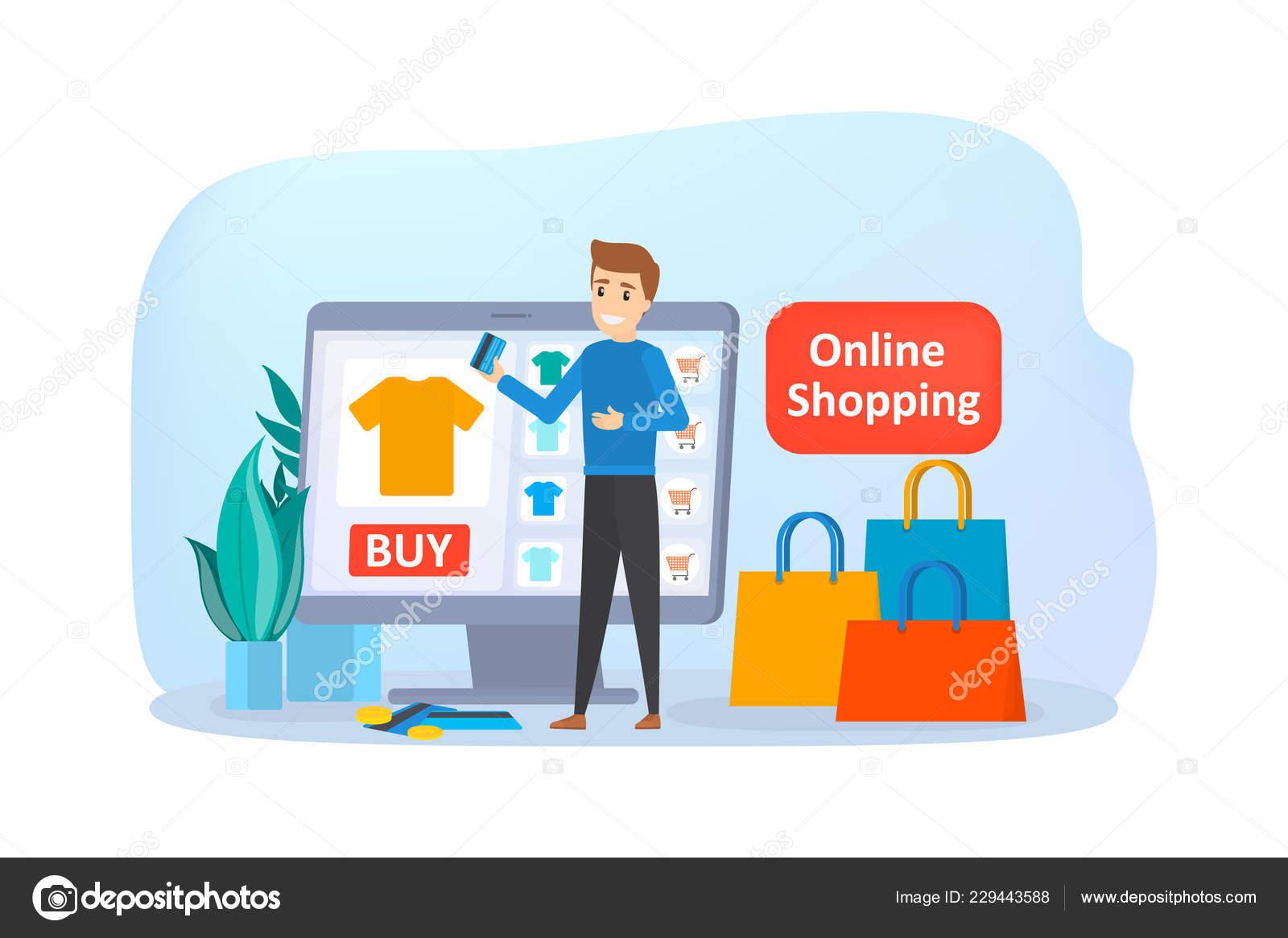 0ea70d8e3a0 Tiendas en línea en el sitio Web. Comprar ropa online — Archivo Imágenes  Vectoriales