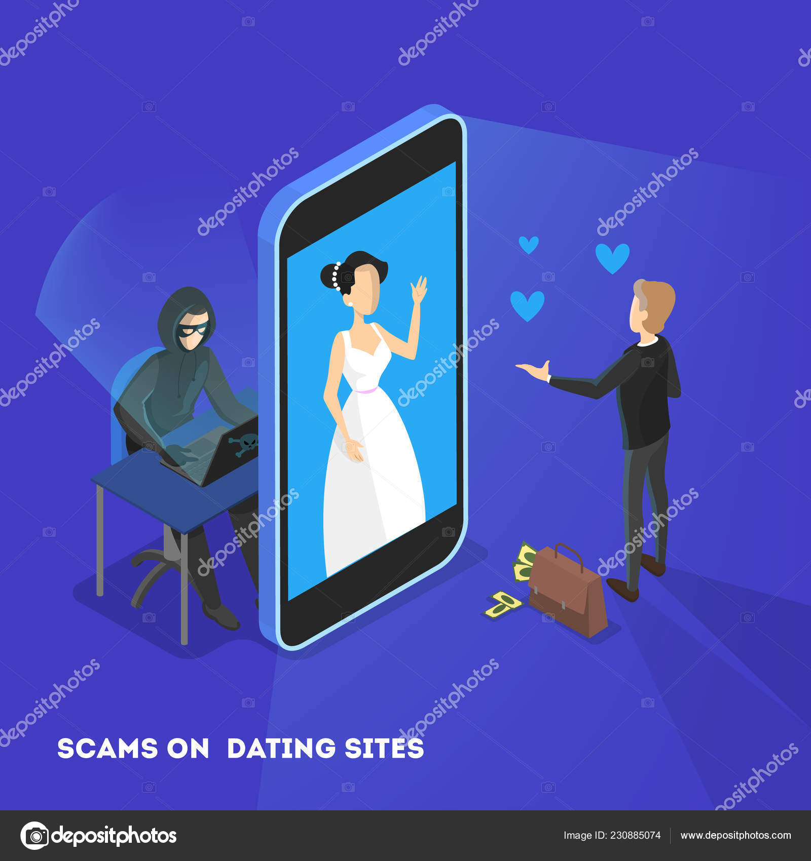 Online dating app  Virtual relationship and love  — Stock Vector