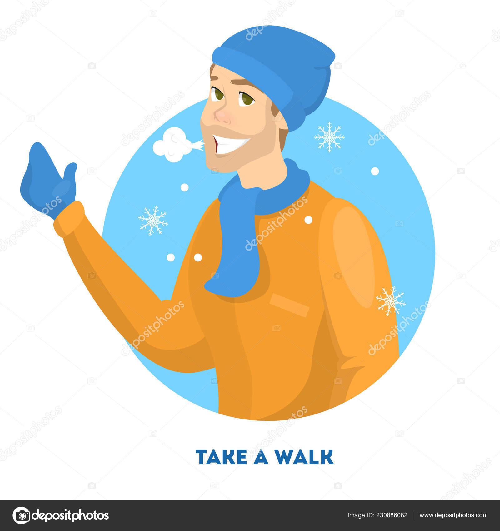Man In Warm Clothes Walking In Winter Season Stock Vector
