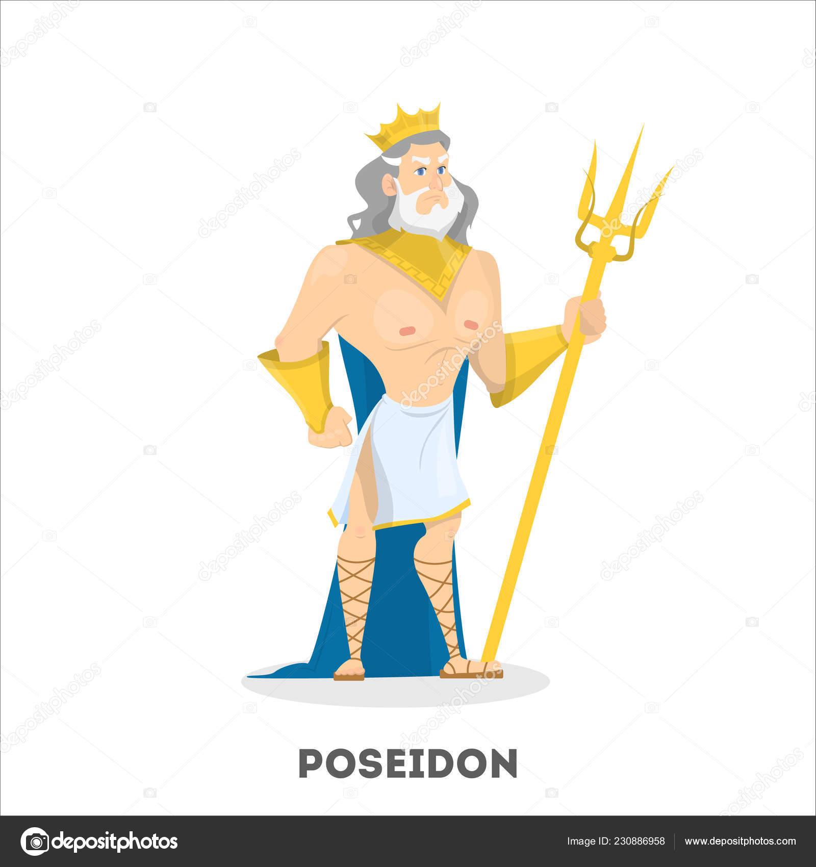 Poseidon Ancient Greek God Character Sea Man Stock Vector