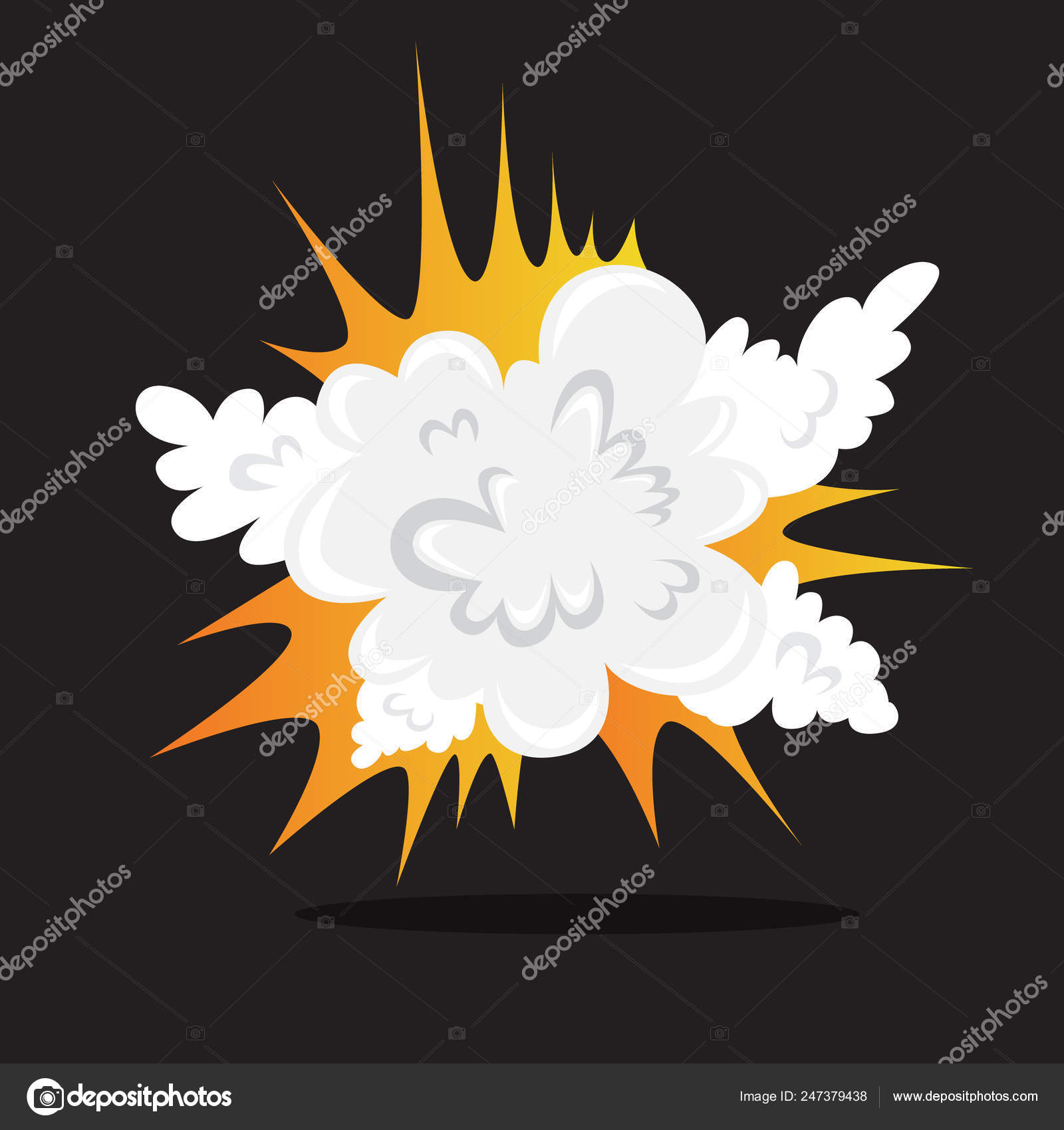 Explosive boom effect  Smoke from the bomb — Stock Vector