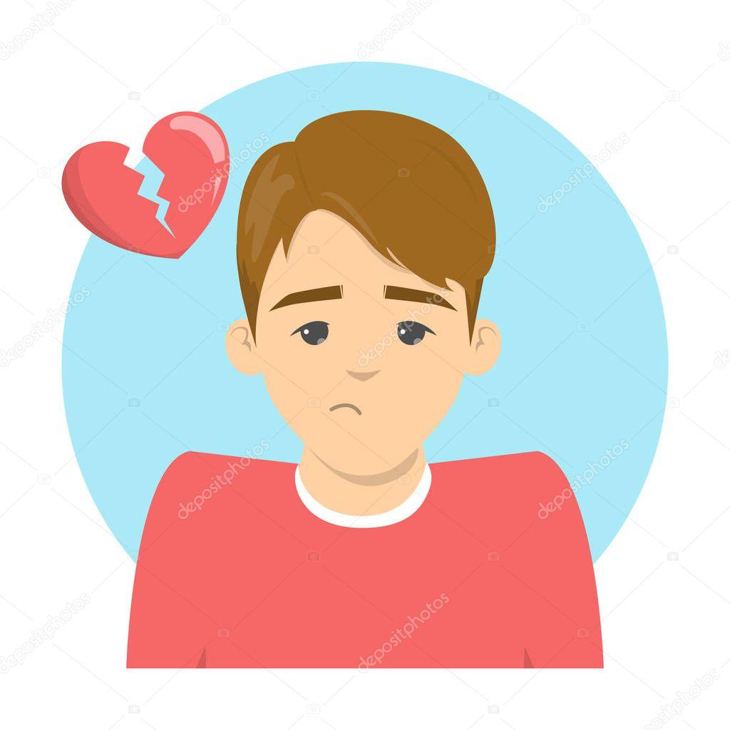 Sad man and broken heart above. Idea of divorce