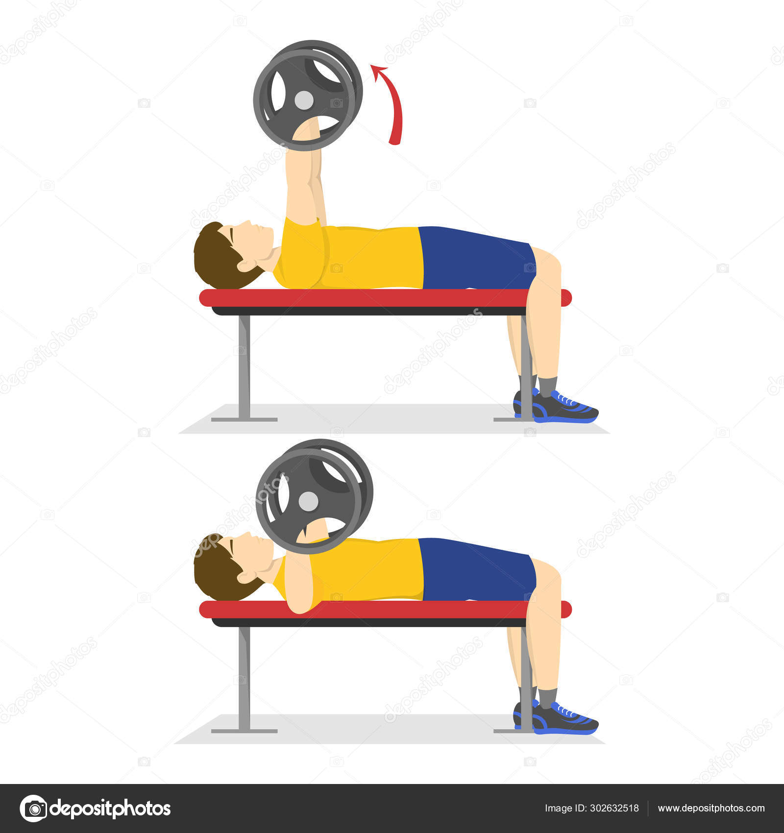 Swell Bench Press Exercise For Chest Man Doing Workout Stock Pdpeps Interior Chair Design Pdpepsorg