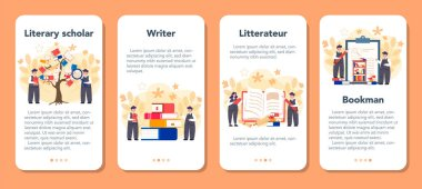 Literary scholar or critic mobile application banner set. Scientist
