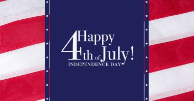 Happy 4th of July greeting Greeting with red, white and blue background