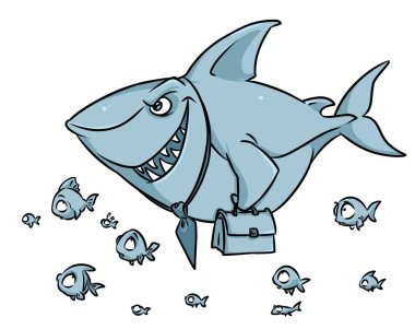 Predatory fish shark business competition superiority cartoon illustration isolated image