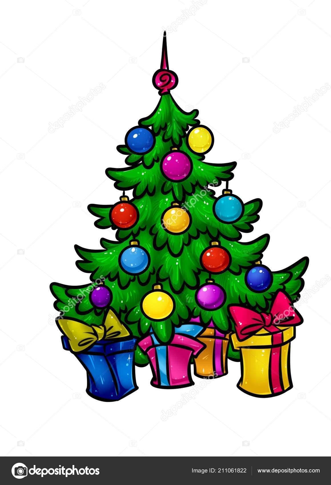 Christmas Beautiful Christmas Tree Holiday Gifts Cartoon