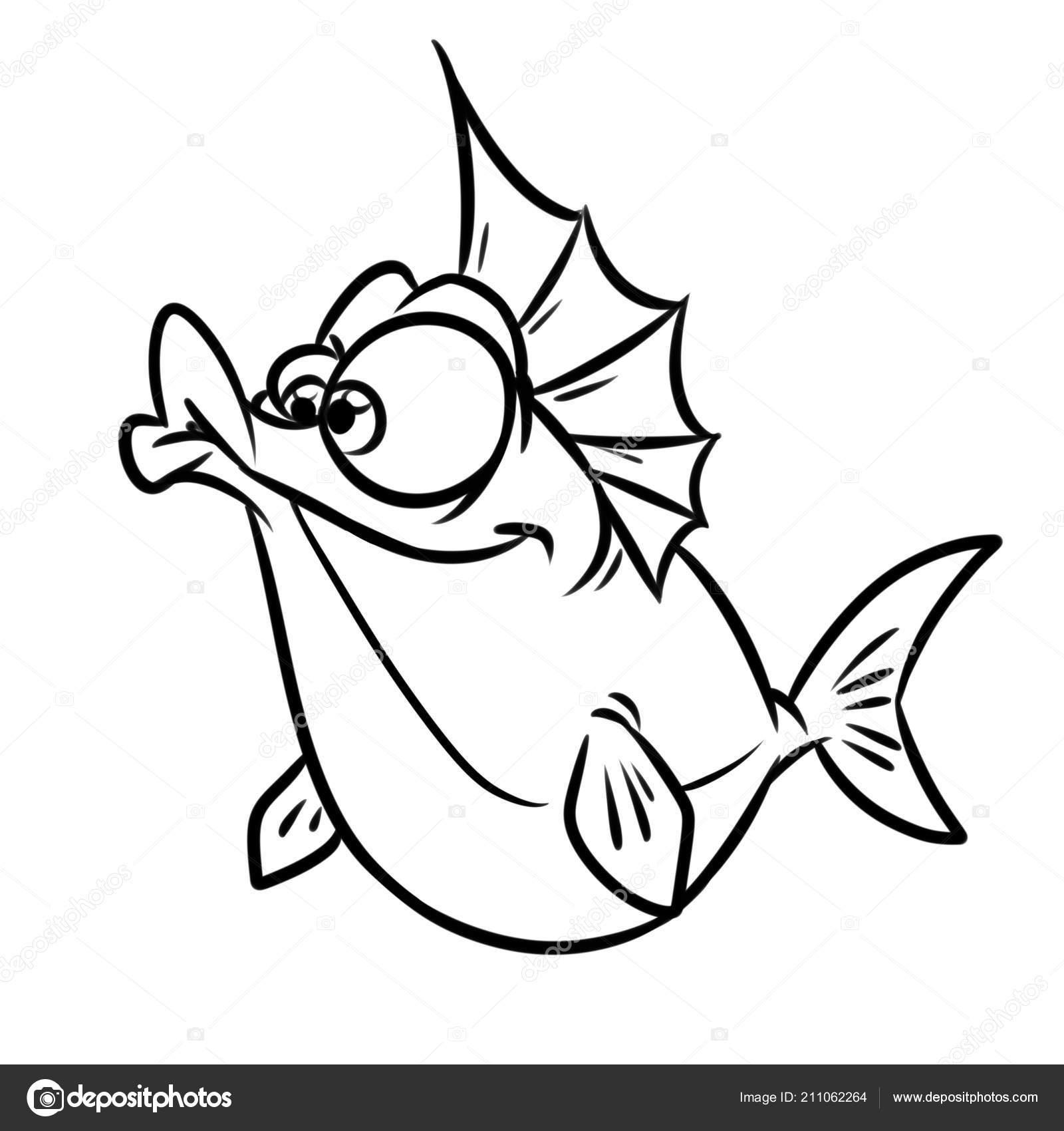 Neşeli Balık çizgi Film Illüstrasyon Izole Görüntü Sayfa