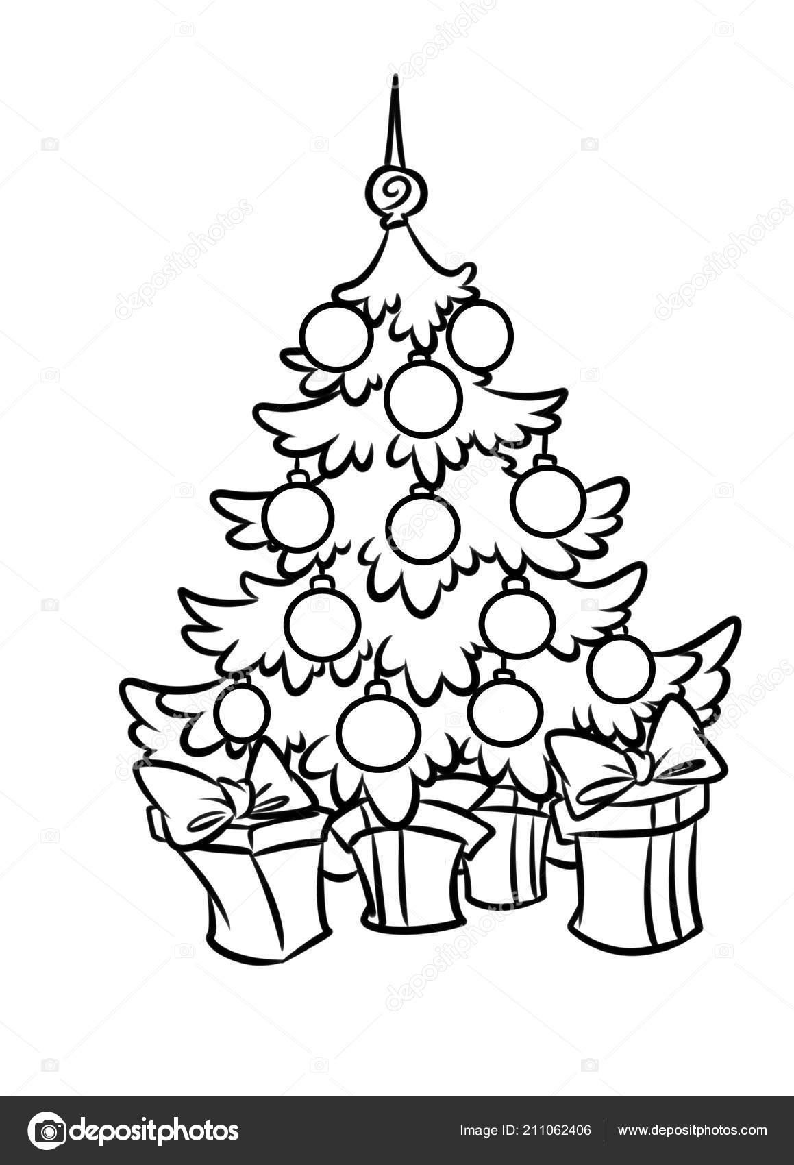 Giften Van Vakantie Van Kerstmis Mooie Kerstboom Cartoon Geisoleerde