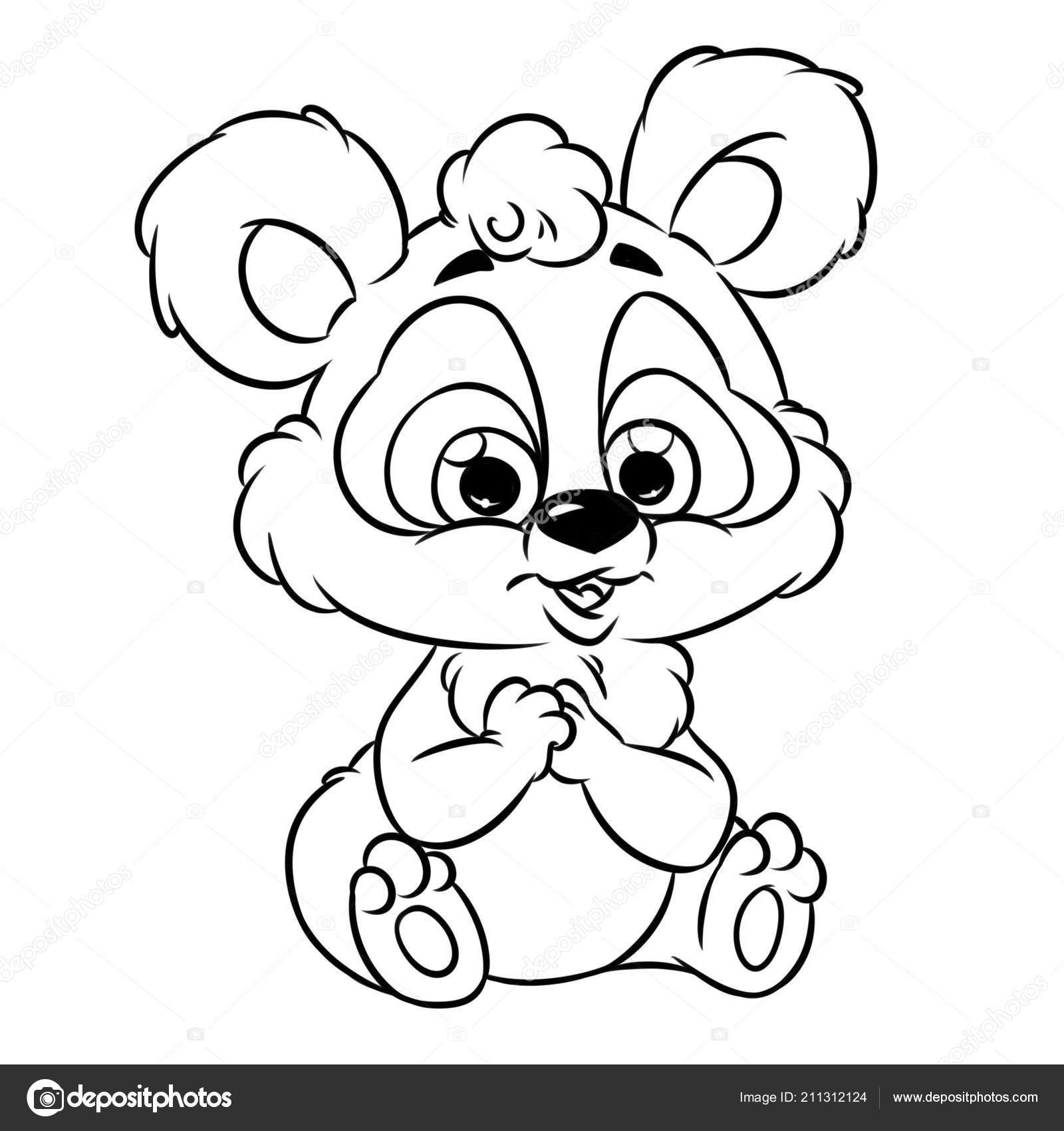 Alegre Panda Dibujos Animados Imagen Aislados Ilustración