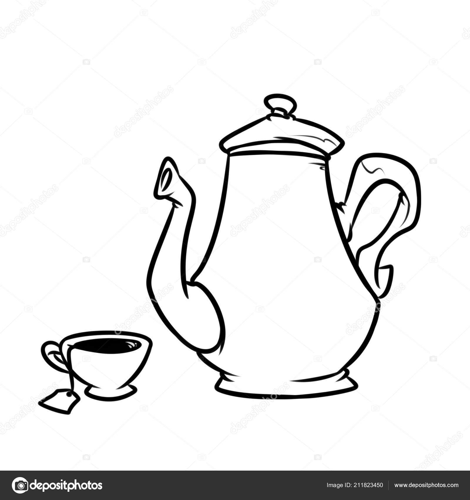 çay Servisi çaydanlık Kupası Yemekleri Sayfa Boyama Görüntü