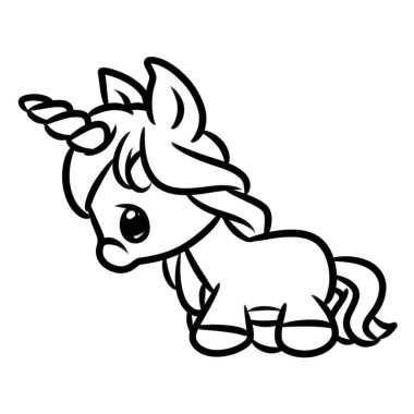 Little Unicorn cartoon illustration isolated image animal character coloring page