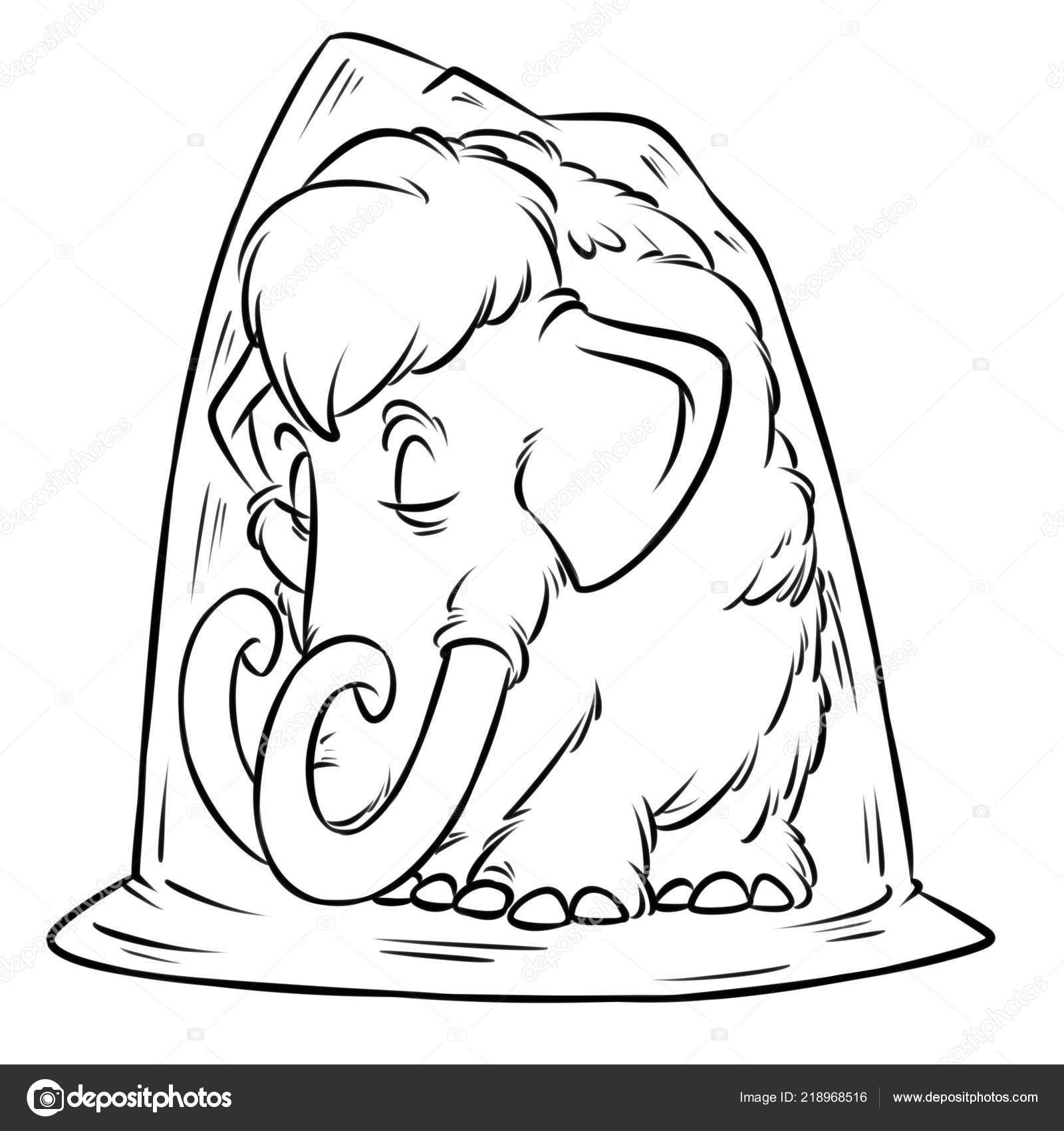 Permafrost Mamut Edad Hielo Historieta Ilustración Aislada Imagen