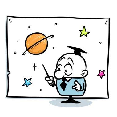 Minimalism illustration professor astronomer lecture star chart cartoon wonder discovery