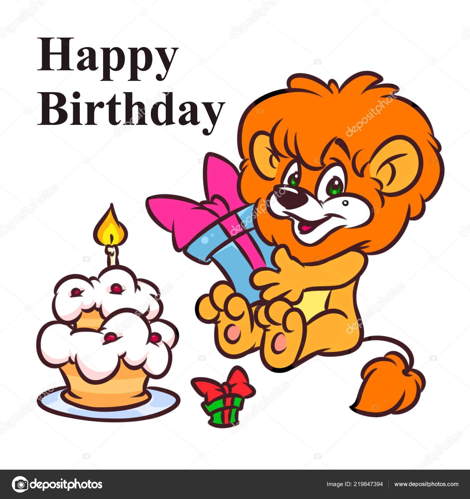 Iictures Cartoon Birthday Cakes Little Lion Happy Birthday Cake Cartoon Illustration Isolated Image Stock Photo C Efengai 219847394
