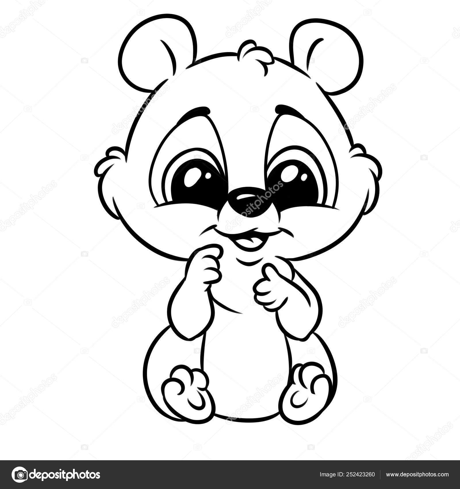 Little Baby Animal Big Eyes Coloring Page Cartoon Illustration