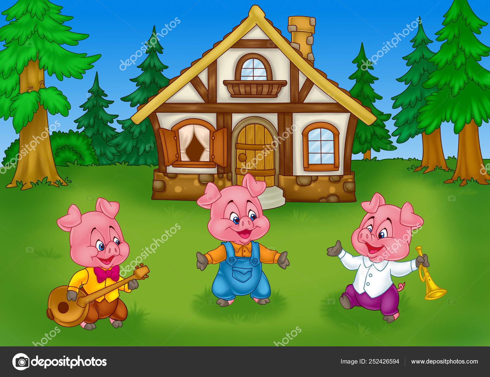 Conto Fadas Três Porquinhos Floresta Natureza Casa Fundo Dos