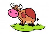 Chiedo prato mucca del fumetto carattere animale