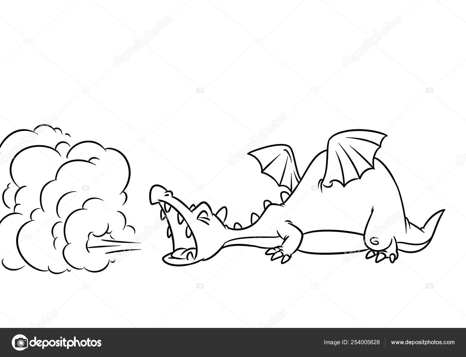 Fairy Tale Dragon Smoke Medieval Cartoon Illustration ...