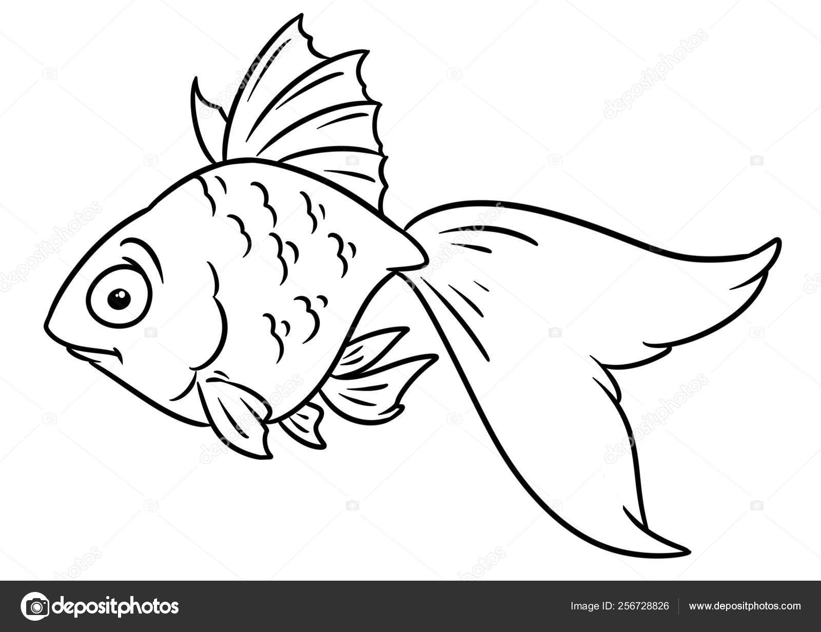 Goldfish Animal Character Cartoon Illustration Isolated ...