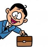 Malý obchodník kufřík úspěšný obrázek kreslený ilustrace izolovaný obraz