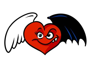 Love cheating Red heart black angel wings character cartoon illustration isolated image
