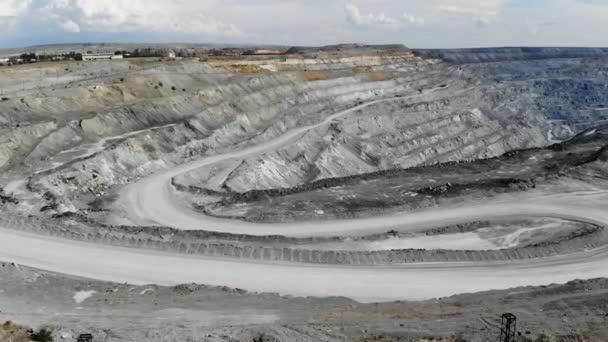 Vista Aerea Della Grande Industriale Cava Per Lestrazione Di Minerale Di Ferro Video 4k