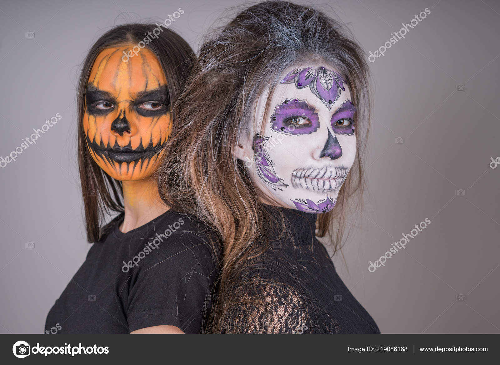 Young Girls With Horrific Faces Of The Dead In Honor Of The Holiday