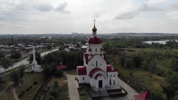 4k Aerial view of the beautiful Christian church temple. Architecture. Religion.