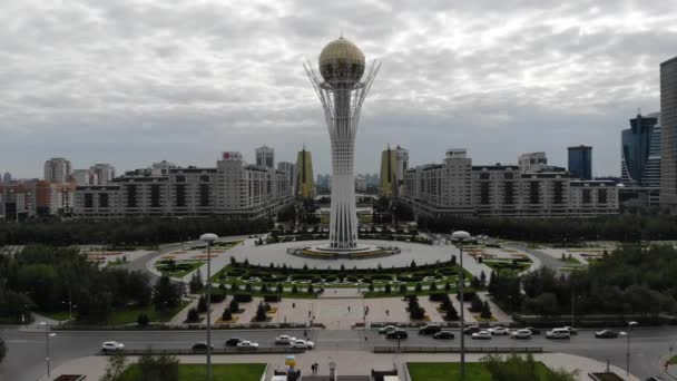 4k The overall plan center of the capital, Astana. Aerial view of Bayterek Tower. Kazakhstan