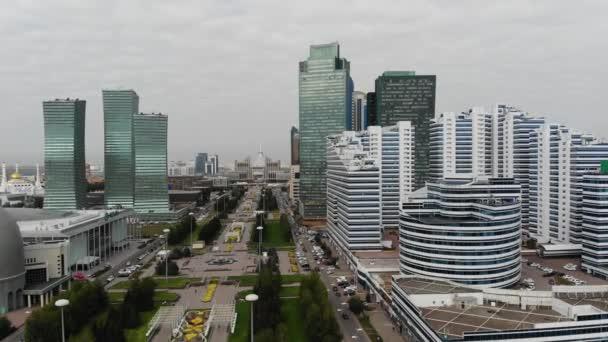 4 k letecký pohled na centrum velkoměsta, vysoká, krásná mrakodrapy