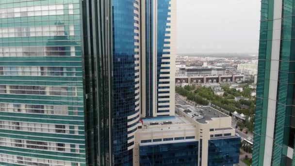 4k Aerial view of high-rise building, business center of banking workers.