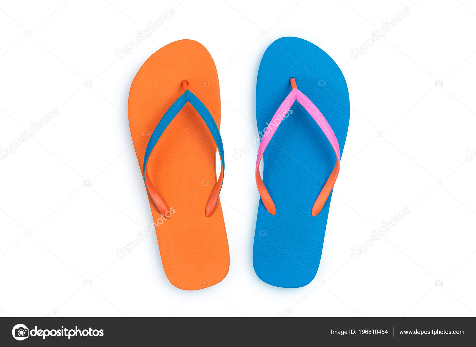 1e4d1d82fc5c Blue and Orange flip flops isolated on white background. Top view– stock  image