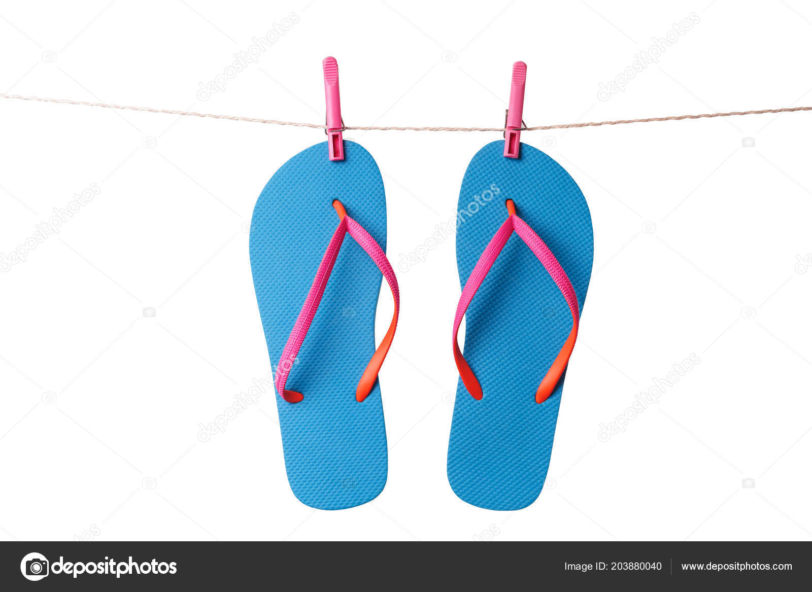 cedc609d5f38ae Blue Flip Flops Hanging Clothesline Isolated White Background Vacation  Concept — Stock Photo
